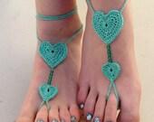 Crochet heart Barefoot Sandals, mint barefoot sandles, Beach Wedding Bridesmaid accessory, Bride foot jewelry, crochet barefoot sandals