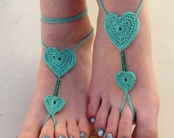Crochet Heart Barefoot Sandals, mint barefoot sandles, Beach Wedding Bridesmaid accessory, bride foot jewelry, anklet, Wedding shoes