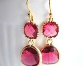 Bridesmaid Pink Fuschia Earrings Briolette Framed Glass 14k Gold Plate