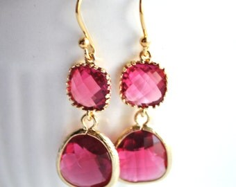 Bridesmaid Pink Fuschia Earrings Briolette Framed Glass 14k Gold Plate
