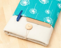 kindle paperwhite cover / kindle fire HDX case / Nexus 10 case / kobo mini case - blue dandelion with pockets -
