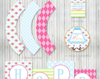 PARTY PRINTABLE - Alice In Wonderland / Onederland Printable Birthday Collection - Petite Party Studio
