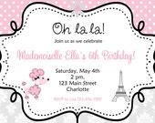 French poodle birthday Invitation -- oo la la party invitation -   You print or I print