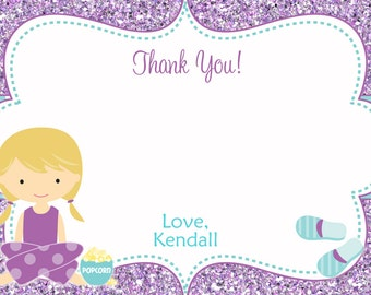 Slumber  Birthday Party Thank you note --  sleepover thank you note