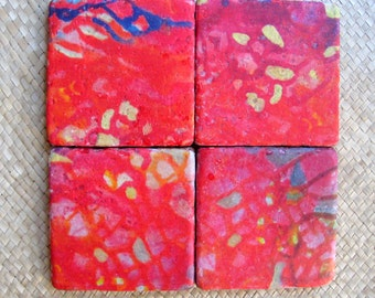 CHRISTMAS gift TILE COASTERS hand made tile with multi-colored original artwork -set of 4 red crimson blue abstract