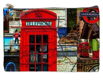 London, cosmetic bag, makeup bag, London Underground, London Eye, Cosmetic Bag, Map of London, Nirvanaroad Cosmetic pouch, bags and purses