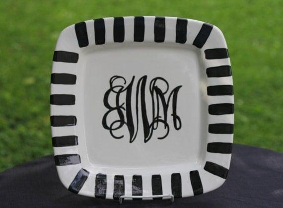 Hand Painted Monogram platter, wedding platter, monogram plate, monogram platter, initial platter, initial plate, custom monogrammed plate