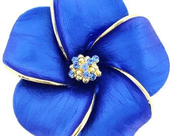 Blue Hawaiian Plumeria Pin Swarovski Crystal Flower Pin Brooch and Pendant 1003162
