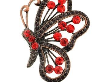 Vintage Ruby Butterfly Pin Brooch/Pendant 1002111