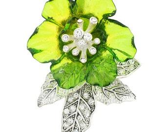 Green Hawaiian Hibiscus Pin Flower Pin Brooch and Pendant 1003061