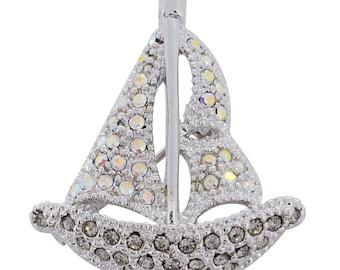 Crystal Silver Shade Sailing Boat Pin Brooch Pin 1012241