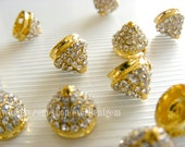5pcs Punk Rock style,Gold tone Spike Cone with Crystal Rhinestone Connector beads