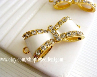 Gold plated crystal Rhinestone bow Connector in White color-15mmx30mm