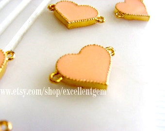 6pcs Gold plated Double-sided Metal Heart Connector in Skin pink color- 17mm