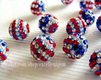 Rhinestone beads, American flag 4-10pcs rhinestone ball beads in12mm