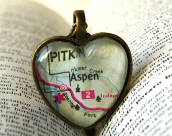 Aspen Colorado, Colorado, Colorado Necklace, Aspen Colorado Necklace, Map Jewelry, Jewelry, I Love Aspen Colorado, Romantic