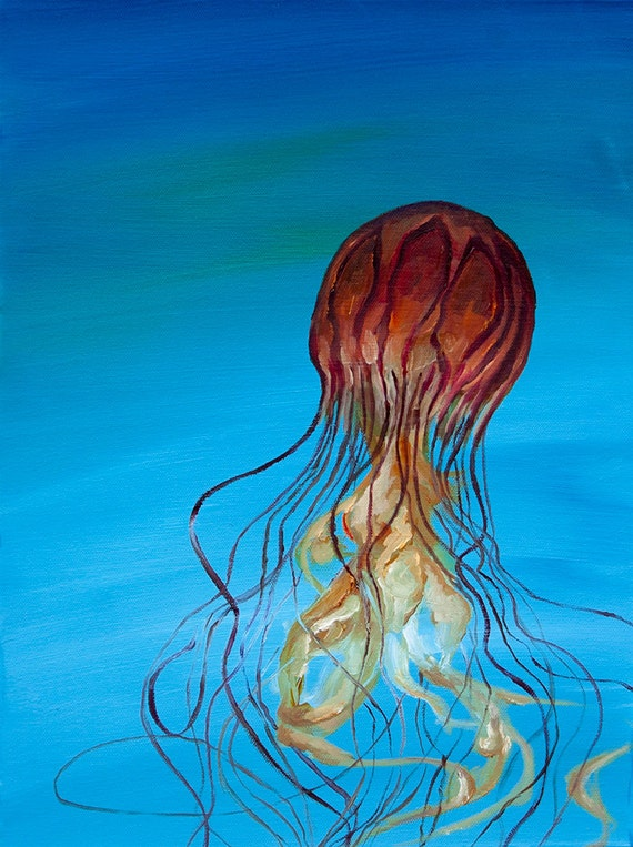 Items similar to Colorful Jellyfish oil painting (art ...