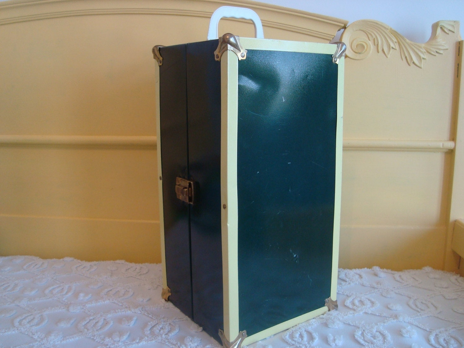 Vintage Metal Doll Clothes Storage Case Trunk Clean By