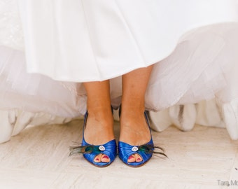 Wedding Shoes - Peacock Shoes - Peacock Feather - Crystal - Short Heel - Choose From Over 200 Colors - Peacock Wedding - Peep Toe Blue Shoe