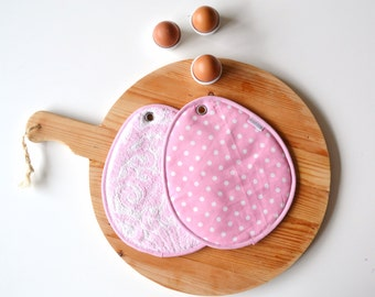 easter potholders - pastel pink easter egg potholders - pink polkadot pastel potholders - hostess gift - foodie gift - easter hostess gift