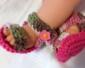 Crocheted Baby Sandals, Baby Camo Sandals, Crocheted Baby Booties, Made To Order, 0-6 months