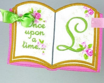 """Once Upon A Time Book Banner In The Hoop Project Machine Embroidery Design Applique Patterns all done ITH in 4 sizes 5"""", 6"""", 7"""" and 8"""""""
