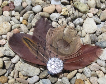 Brown, Tan and Black Feather Fascinator