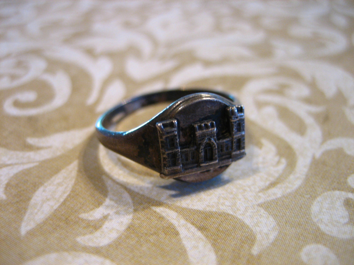 Vintage Sterling Silver Us Army Engineer Castle Insignia Ring