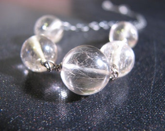 Rutilated Quartz Sterling Silver Necklace Gold Needles Golden Rutilated Quartz Modern Jewelry