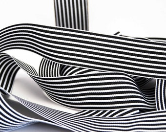 Striped Grosgrain Ribbon -- 1.5 inches -- Black White