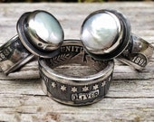 Reserved for Dawn - Personalized Silver Coin Ring Bands or with Freshwater Pearl