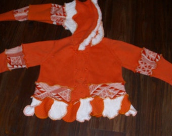SALE  Orange Elf Sweater Kids Med