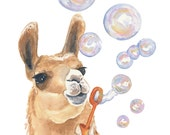 Watercolor PRINT - Llama Watercolor, Bubble Blowing, Nursery Art, 11x14 Painting Print