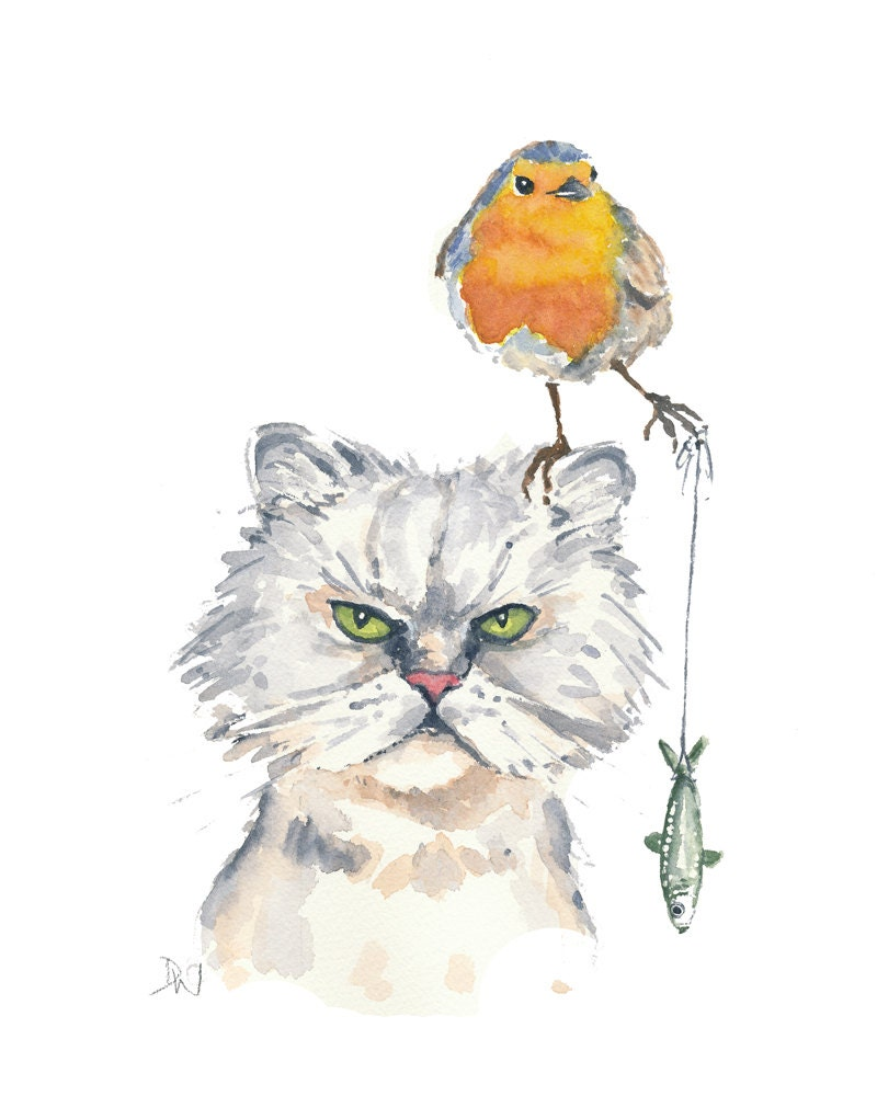 Cat Robin Watercolor Painting Original Watercolour