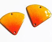 Unique jewelry findings Orange enamel earring findings Handmade jewelry components