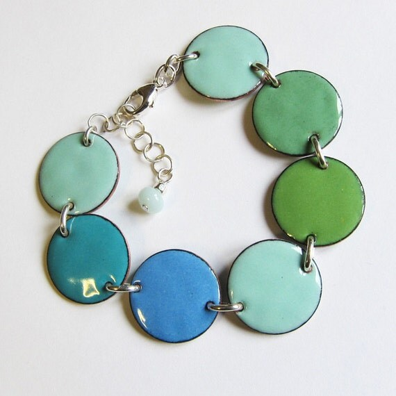 Blue aqua green enamel bracelet Big colorful disc bracelet Modern enamel bohemian jewelry Ombre blues