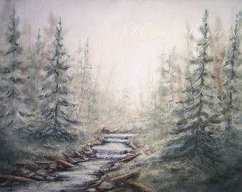 Original Watercolor Painting - Misty Morning - Forest Foggy Creek Nature Art Signed with COA 12 x 16 inches