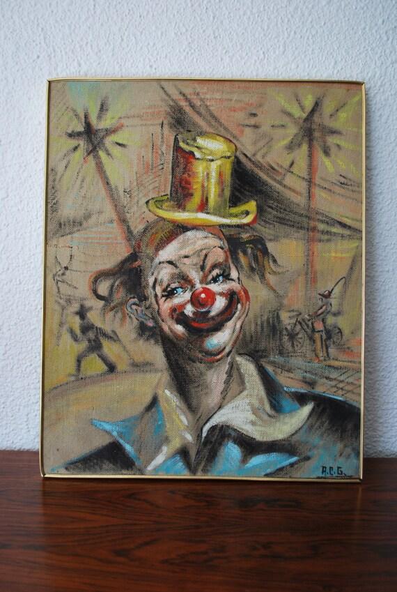 Sale Mid Century Vintage Clown Painting I