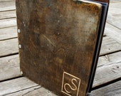 17 x 11P - The Distressed Wooden Birch Portfolio WITH 10 Sheet Protectors & Custom Engraving