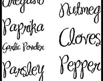Spice Labels - Kitchen/Pantry Accessory -  Vinyl Wall Art - Lettering