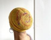 Crochet Beanie, Slouchy Beanie Cap - Yellow, Peach, Dash Of Rainbow Cotton Beanie  - Summer Hat, Yellow Hat, Unisex Beanie Women Men