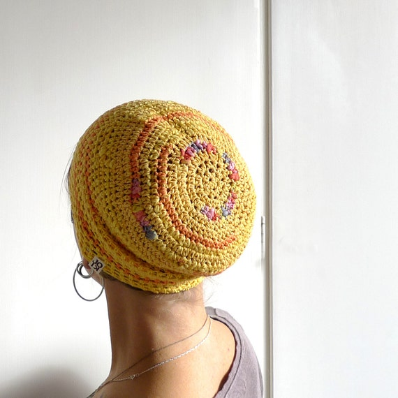 Crochet Beanie, Slouchy Beanie Cap - Yellow, Peach, Dash Of Rainbow Cotton Beanie  - Summer Hat, Yellow Hat, Unisex Beanie Women Men