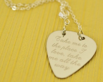 take me to the place i love guitar pick necklace, choose Swarovski accent