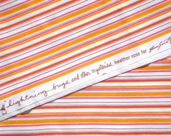SALE : Heather Ross Lightning Bugs & Other Mysteries orange pink Stripe FQ *WASHED
