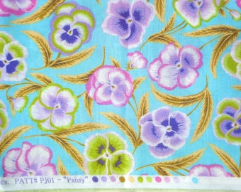 Pansy sky blue Phillip Jacobs Rowan Fabrics early retired PJ-01 FQ or more