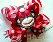 Red Sock Monkey Multi Layered Boutique Style Hair Bow Red