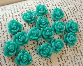 Teal Resin Flower Cabochon 15mm