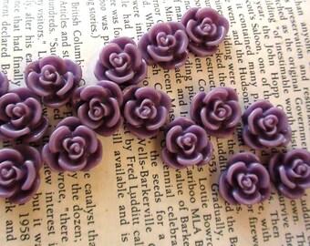 Purple Resin Flower Cabochon 15mm