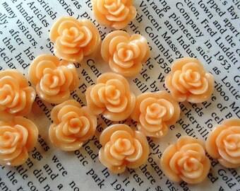 Light Orange Resin Flower Cabochon 14mm