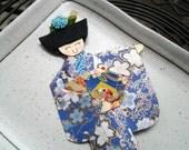 1pc - Origami Japanese Geisha Bookmark Blue White Floral Kimono